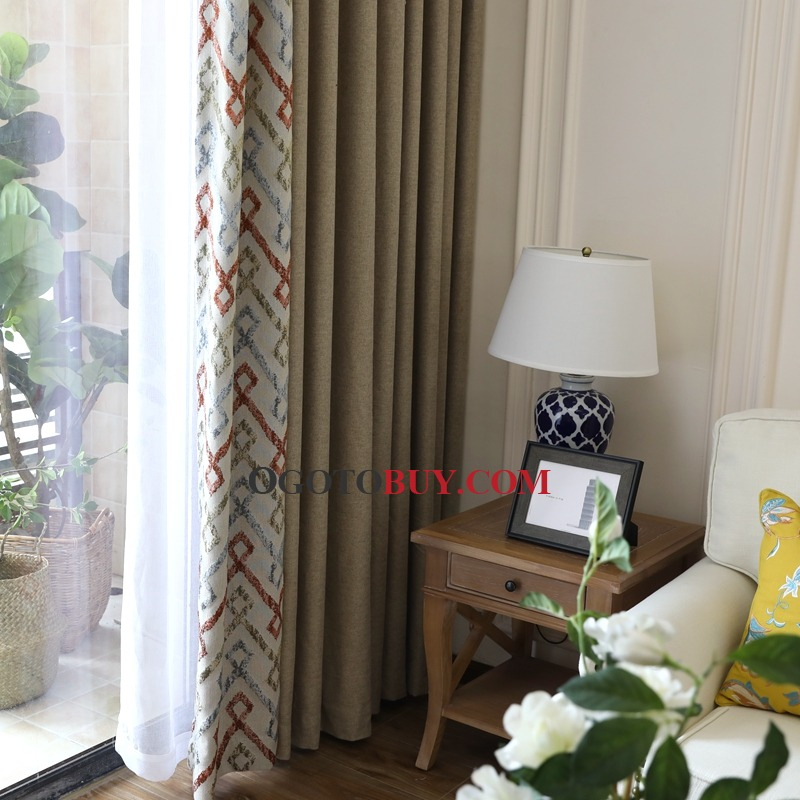 American Coffee Linen Cotton Blend Jacquard Blackout For Geometric Linen Room Darkening Window Curtains (View 2 of 50)