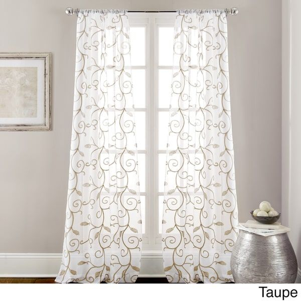 Amraupur Overseas Leaf Swirl Embroidered Curtain Panel Pair With Regard To Overseas Faux Silk Blackout Curtain Panel Pairs (#2 of 41)