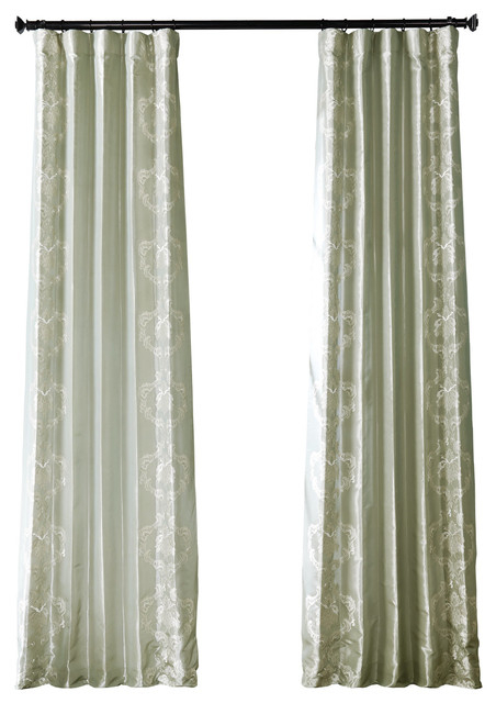 Anastasia Sterling Faux Silk Taffeta Curtain Single Panel, 50W X 108L Intended For Solid Faux Silk Taffeta Graphite Single Curtain Panels (#1 of 50)