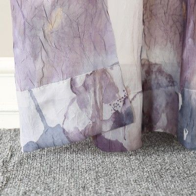 Popular Photo of Andorra Watercolor Floral Textured Sheer Single Curtain Panels