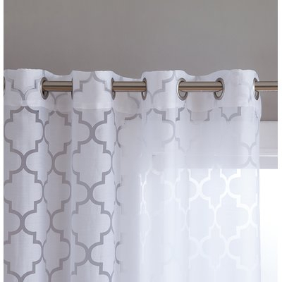 Andover Mills Kuhlmann Burnout Geometric Semi Sheer Grommet Pertaining To Laya Fretwork Burnout Sheer Curtain Panels (View 36 of 38)