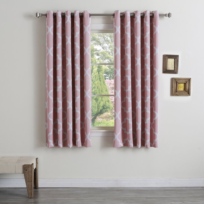 Andrews Print Geometric Semi Sheer Grommet Single Curtain Panel In Single Curtain Panels (View 17 of 36)