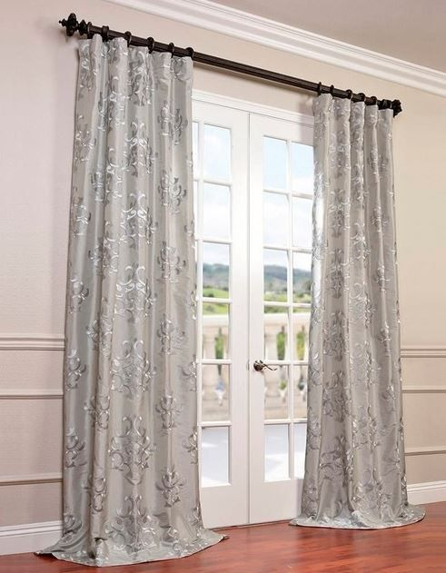 Ankara Silver Embroidered Faux Silk Curtain Single Panel Within Ofloral Embroidered Faux Silk Window Curtain Panels (View 22 of 50)