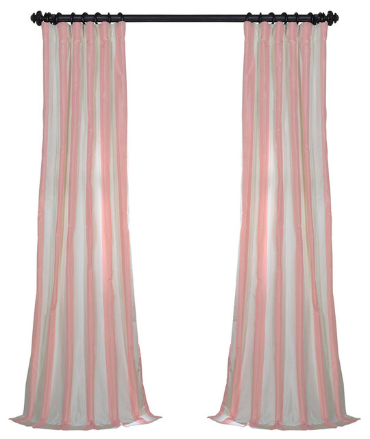 "Annabelle Fauxsilk Taffeta Stripe Curtain Single Panel, 50""x96"" Intended For Overseas Faux Silk Blackout Curtain Panel Pairs (#3 of 41)"