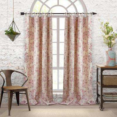 Annalise Floral Linen Tie Top Window Curtain Inside Elrene Jolie Tie Top Curtain Panels (#4 of 35)