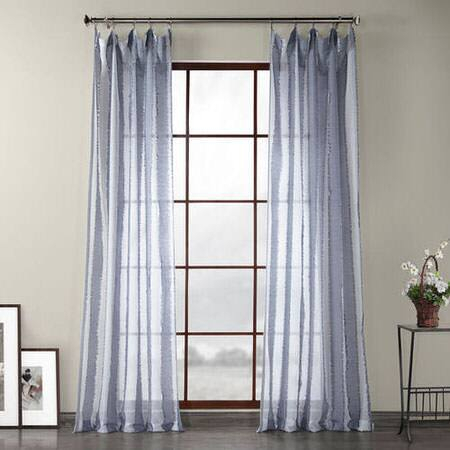 Antares Blue Patterned Linen Sheer Curtain Intended For Ombre Faux Linen Semi Sheer Curtains (#7 of 50)