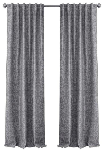 "Antonia Blackout Single Window Curtain, Silver, 52""x108"" Regarding Elrene Mia Jacquard Blackout Curtain Panels (View 4 of 37)"