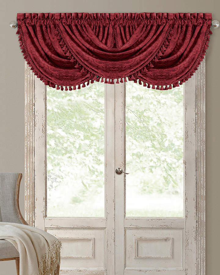 Antonia Waterfall Tassel Window Valance For Elrene Versailles Pleated Blackout Curtain Panels (View 3 of 38)