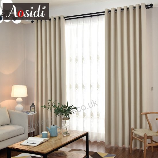 Aosidi Modern Blackout Curtains For Living Room Solid Cloth Within Solid Cotton True Blackout Curtain Panels (#6 of 50)