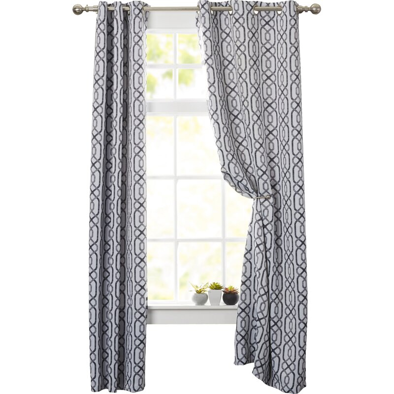 Applin Geometric Max Blackout Grommet Curtain Panels Pertaining To Blackout Grommet Curtain Panels (View 4 of 40)