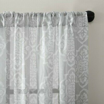 "Archaeo Global Block Textured Cotton Blend Sheer Curtain Panel 54"" X 95""  Tc08 