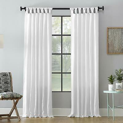 """Archaeo Washed 100% Cotton Twist Tab Curtain 52"""" X 63"""" White 