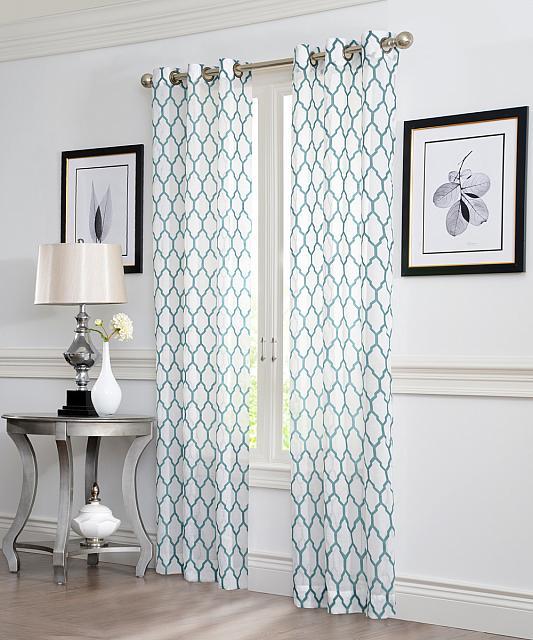 Aria Flocked Geo Lattice Grommet Curtain Panel Pair In Curtain Panel Pairs (View 5 of 26)