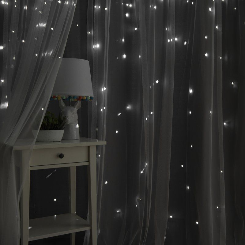 Arkose Tulle And Star Polka Dot Blackout Thermal Grommet Within Star Punch Tulle Overlay Blackout Curtain Panel Pairs (#3 of 50)