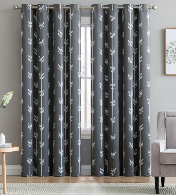 Arrow Printed Blackout Room Darkening Thermal Grommet Curtains Bedroom, 2  Panel Within Superior Solid Insulated Thermal Blackout Grommet Curtain Panel Pairs (#14 of 45)