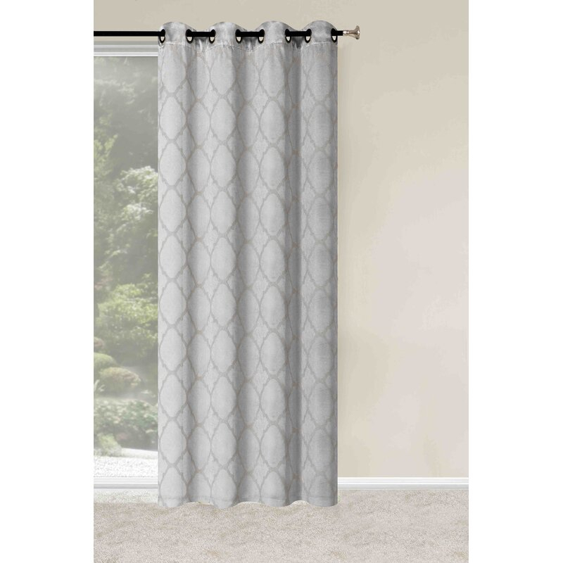 Arrowsmith Energy Saving Basic Metallic Lattice Geometric Blackout Thermal  Grommet Curtain Panel Pair Regarding Twig Insulated Blackout Curtain Panel Pairs With Grommet Top (#8 of 50)