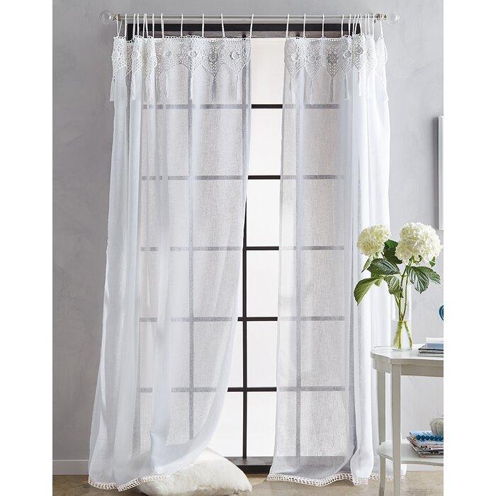 Asbury Solid Sheer Tab Top Single Curtain Panel With Tab Top Sheer Single Curtain Panels (View 6 of 50)