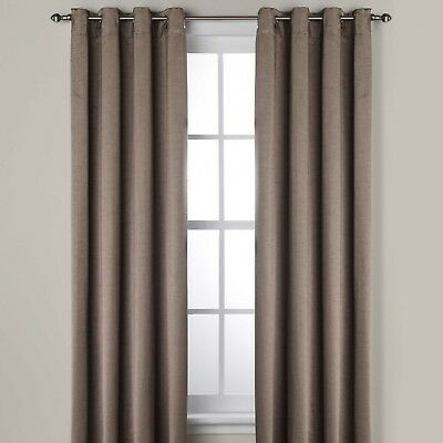 "Ashton 95"" Lined Grommet Top Room Darkening Window Curtain Panel In Smoke  80995491496 
