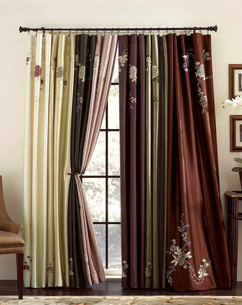 Popular Photo of Ofloral Embroidered Faux Silk Window Curtain Panels