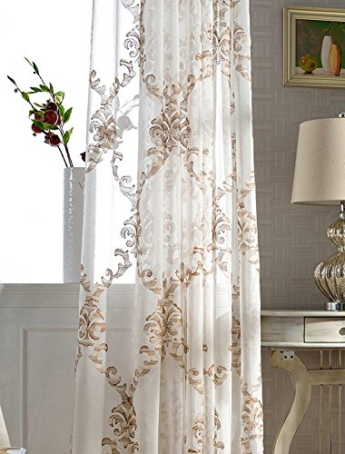 Aside Bside Chinese Style Floral Embroidered Sheer Curtains Rod Pocket Top  Fashionable Window Treatments For Living Room Bedroom And Kids Room (1 In Kida Embroidered Sheer Curtain Panels (#3 of 50)