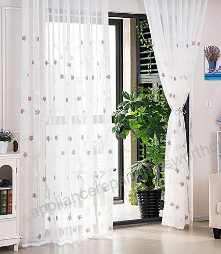 Aside Bside Double Color Floral Embroidered Sheer Curtains With Kida Embroidered Sheer Curtain Panels (#4 of 50)