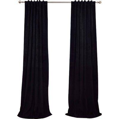 Astoria Grand Hackney Velvet Blackout Single Curtain Panel Pertaining To Warm Black Velvet Single Blackout Curtain Panels (#3 of 48)