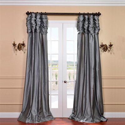 Astoria Grand Hallman Ruched Faux Silk Taffeta Thermal Rod Regarding Solid Faux Silk Taffeta Graphite Single Curtain Panels (View 25 of 50)