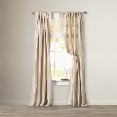 Astoria Grand Lochleven Faux Silk Taffeta Solid Thermal Rod Inside Faux Silk Taffeta Solid Blackout Single Curtain Panels (View 2 of 50)