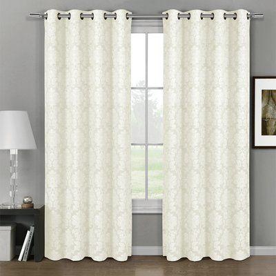 Astoria Grand Michelle Damask Blackout Grommet Curtain In Elegant Comfort Luxury Penelopie Jacquard Window Curtain Panel Pairs (View 5 of 50)