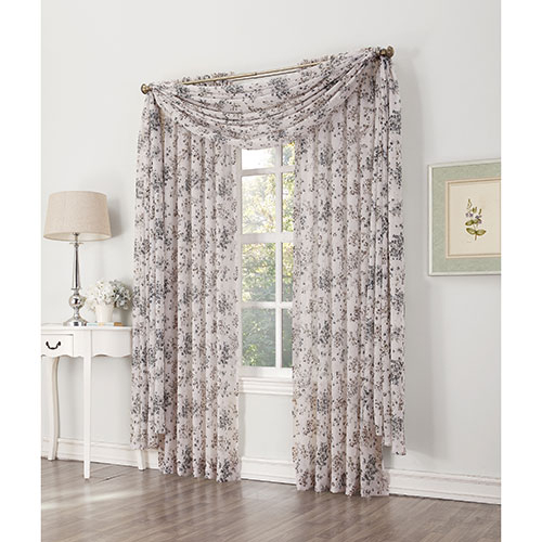 Athena Crushed Voile Floral Curtain Panel Within Grey Printed Curtain Panels (View 3 of 48)