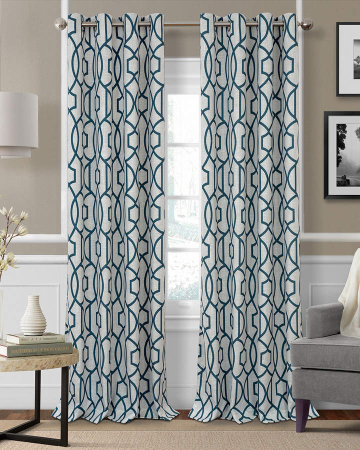 Ati Home Kochi Linen Blend Window Grommet Top Curtain Panel Throughout Primebeau Geometric Pattern Blackout Curtain Pairs (#2 of 38)