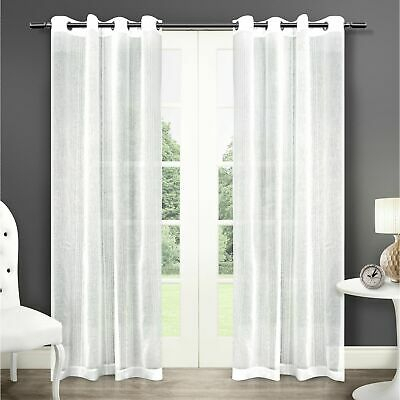 Ati Home Sabrina Sheer Window Curtain Panel Pair With Throughout Wilshire Burnout Grommet Top Curtain Panel Pairs (#8 of 45)