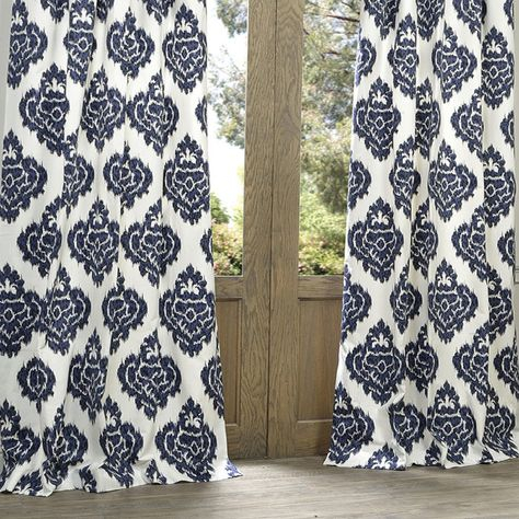 Atkins Ikat 100% Cotton Single Curtain Panel | Filipina Inside Ikat Blue Printed Cotton Curtain Panels (#5 of 50)