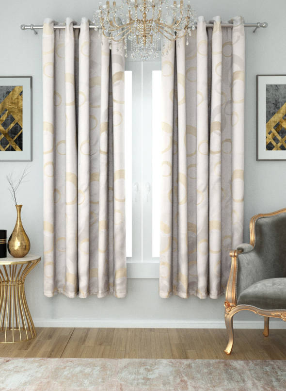 Aura Off White & Golden Geometric Pattern Room Darkening Window Curtain Regarding Geometric Linen Room Darkening Window Curtains (View 4 of 50)
