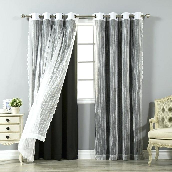 Aurora Home Curtains News Lace Overlay – Juani For Mix And Match Blackout Tulle Lace Sheer Curtain Panel Sets (#3 of 50)