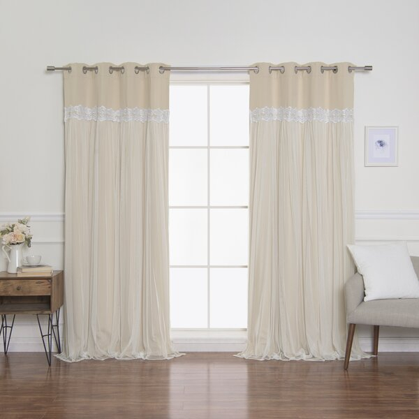 Aurora Home Curtains | Wayfair With Star Punch Tulle Overlay Blackout Curtain Panel Pairs (#4 of 50)
