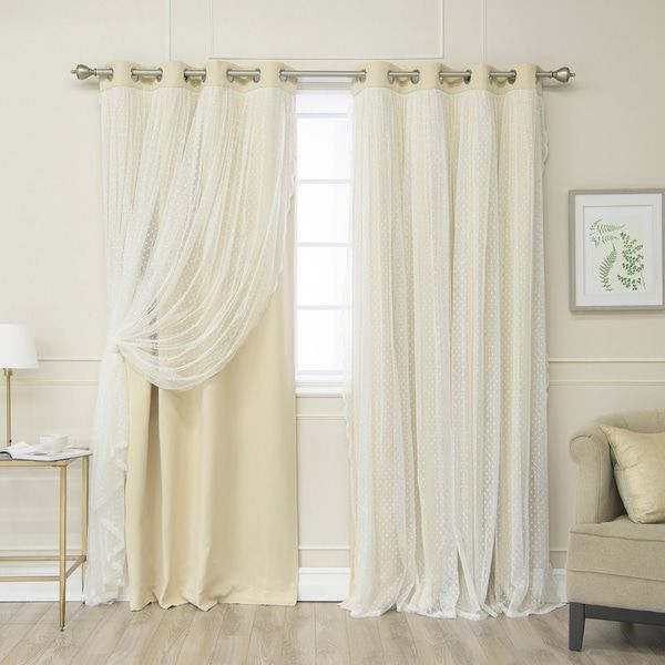 Aurora Home Dotted Lace Overlay Thermal Insulated Blackout Pertaining To Insulated Blackout Grommet Window Curtain Panel Pairs (#4 of 37)