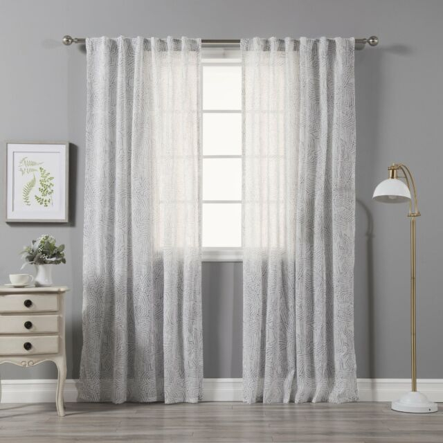 """Aurora Home Faux Linen Abstract Print Curtain Panel Pair – Grey 52""""w X 84""""l With Grey Printed Curtain Panels (View 4 of 48)"""