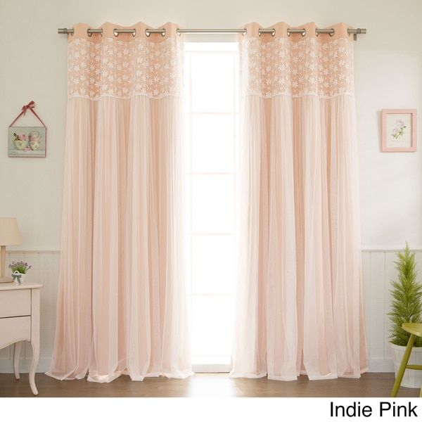 Aurora Home Floral Lace Overlay Thermal Insulated Blackout Regarding Thermal Insulated Blackout Grommet Top Curtain Panel Pairs (#6 of 50)