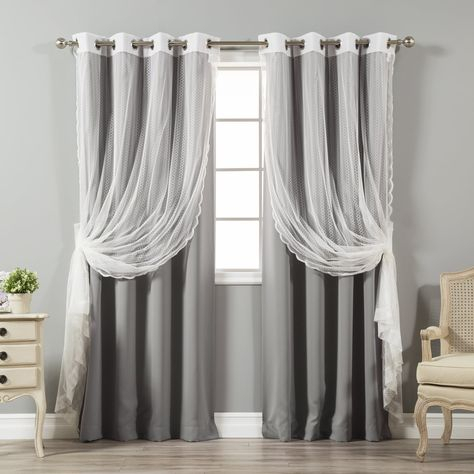 Aurora Home Mix And Match Blackout And Zigzag Lace Curtain Regarding Mix & Match Blackout Tulle Lace Bronze Grommet Curtain Panel Sets (View 22 of 50)