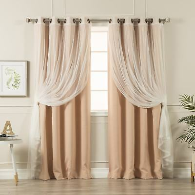 Aurora Home Mix And Match Blackout Tulle Lace Sheer 4 Piece For Mix And Match Blackout Blackout Curtains Panel Sets (#14 of 50)