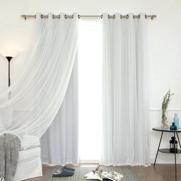 Aurora Home Mix Match Blackout Tulle Lace Bronze Grommet 4 Regarding Mix And Match Blackout Blackout Curtains Panel Sets (#15 of 50)
