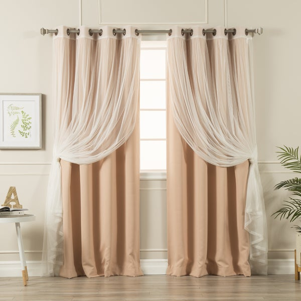 Aurora Home Mix & Match Curtains Blackout Tulle Lace Sheer Bronze Grommet 4 Piece Curtain Panel Pair With Mix & Match Blackout Tulle Lace Bronze Grommet Curtain Panel Sets (View 7 of 50)