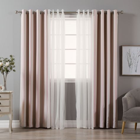 Aurora Home Mix & Match Curtains Stripe Print And Tulle Lace For Mix And Match Blackout Tulle Lace Sheer Curtain Panel Sets (#11 of 50)
