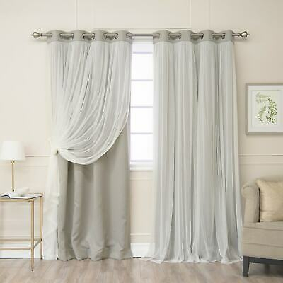 Aurora Home Star Punch Tulle Overlay Blackout Curtain Panel Pertaining To Star Punch Tulle Overlay Blackout Curtain Panel Pairs (#14 of 50)