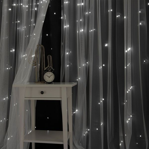 Aurora Home Star Punch Tulle Overlay Blackout Curtain Panel Throughout Star Punch Tulle Overlay Blackout Curtain Panel Pairs (#15 of 50)