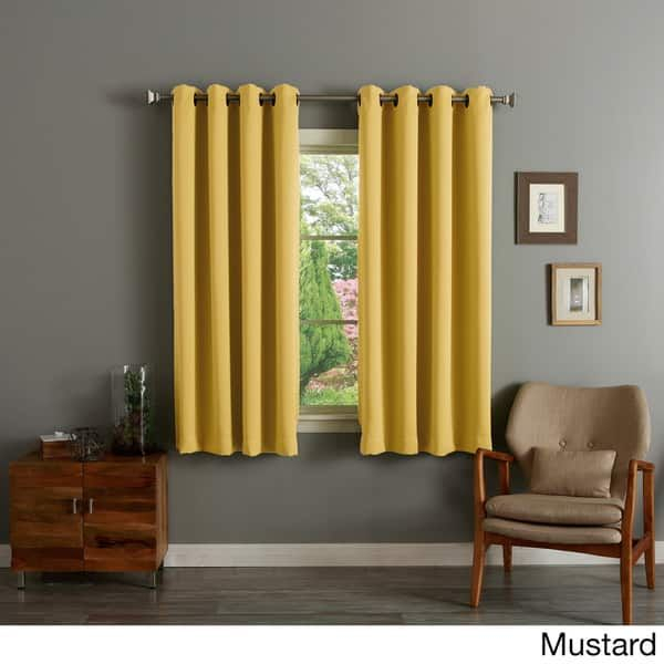 Aurora Home Thermal Insulated Blackout Grommet Top Curtain Inside Thermal Insulated Blackout Grommet Top Curtain Panel Pairs (#9 of 50)
