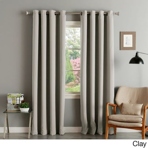 Aurora Home Thermal Insulated Blackout Grommet Top Curtain Regarding Antique Silver Grommet Top Thermal Insulated Blackout Curtain Panel Pairs (View 12 of 40)