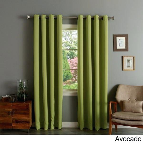 Aurora Home Thermal Insulated Blackout Grommet Top Curtain With Insulated Blackout Grommet Window Curtain Panel Pairs (#6 of 37)