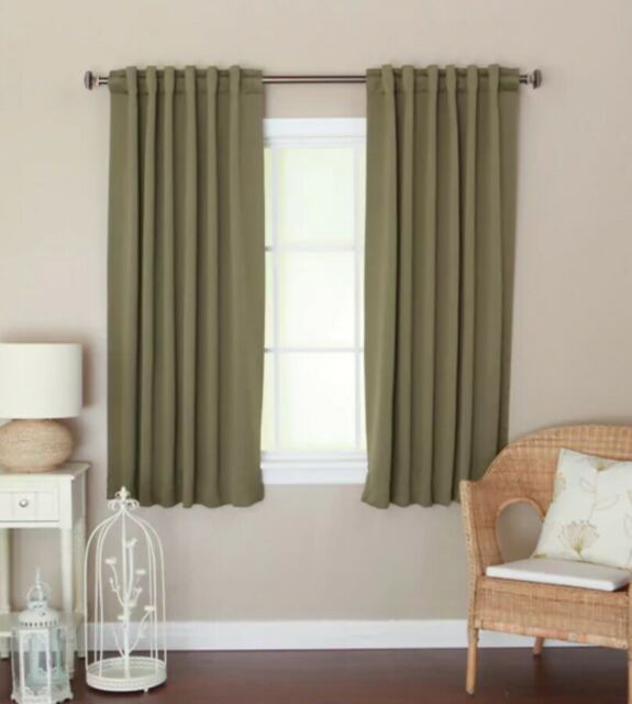 Aurora Insulated 72 Inch Thermal Blackout Curtain Panel Pair 52 X 72 Olive Green Intended For Solid Insulated Thermal Blackout Long Length Curtain Panel Pairs (View 4 of 50)